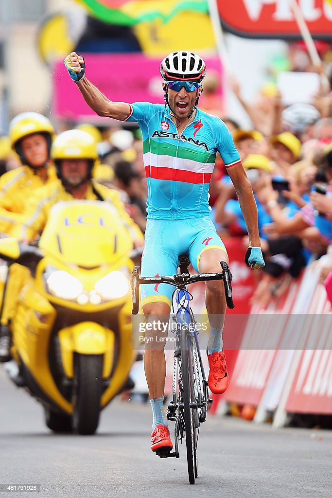 Vincenzo Nibali of Italy and Astana Pro Cycling celebrates winning stage nineteen of the 2015 Tour de France, a 138km stage between Saint-Jean-de-Maurienne and La Toussuire-Les Sybelles, on July 25, 2015 in La Toussuire-Les Sybelles, France.