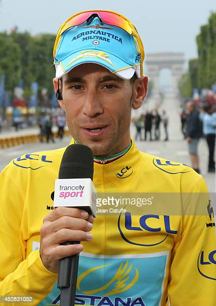 Vincenzo Nibali of Italy and Astana Pro Team answers to the french tv following the twenty one and last stage of the 2014 Tour de France, a 134 km...