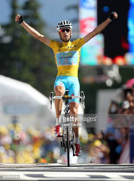 Vincenzo Nibali of Italy and Astana Pro Team celebrates winning stage thirteen of the 2014 Tour de France, a 197 km stage from Saint-Etienne to...