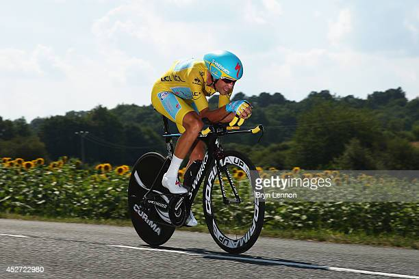Vincenzo Nibali of Italy and Astana Pro Team in action during the twentieth stage of the 2014 Tour de France, a 54km individual time trial stage...