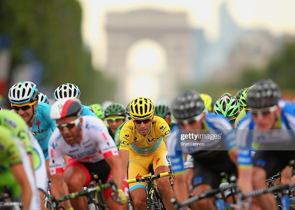 Vincenzo Nibali of Italy and Astana Pro Team in action during the twenty first stage of the 2014 Tour de France, a 138km stage from Evry into the Champs-Elysees, on July 27, 2014 in Paris, France.
