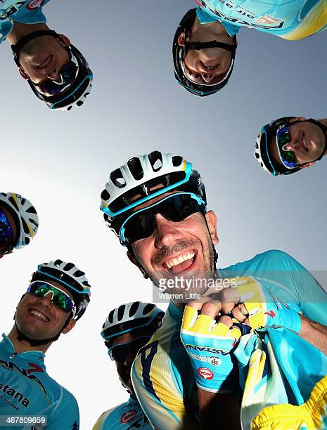 Vincenzo Nibali of Italy and Astana Pro Team poses for a picture with his team mates ahead of stage four of the 2014 Dubai Tour on February 8 2014 in...