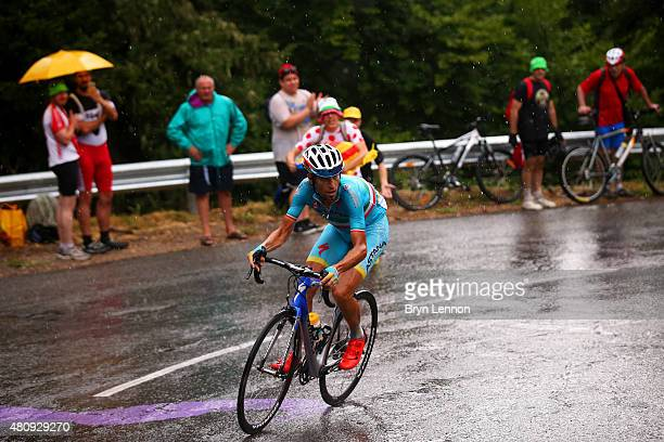 Vincenzo Nibali of Italy and Astana Pro Team rides during stage twelve of the 2015 Tour de France a 195 km stage between Lannemezan and Plateau de...