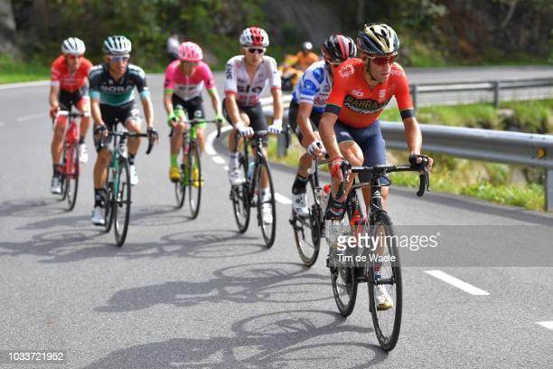 Vincenzo Nibali of Italy and Bahrain Merida Pro Cycling Team / Rafal Majka of Poland and Team Bora Hansgrohe / Thomas De Gendt of Belgium and Team...