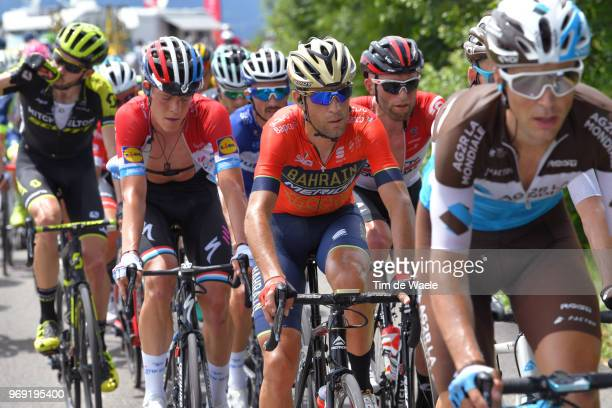 Vincenzo Nibali of Italy and Bahrain Merida Pro Team / Bob Jungels of Luxembourg and Team QuickStep Floors / during the 70th Criterium du Dauphine...