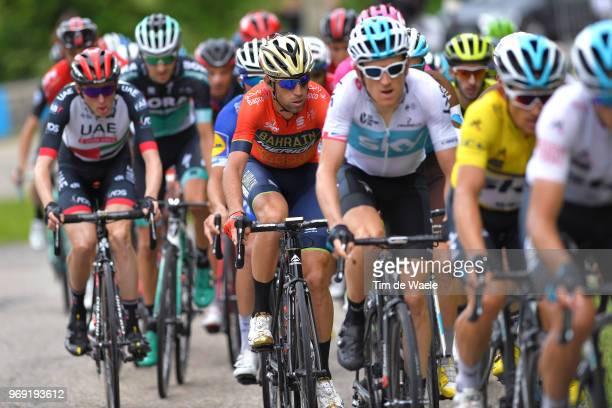Vincenzo Nibali of Italy and Bahrain Merida Pro Team / Julian Alaphilippe of France and Team QuickStep Floors / Daniel Martin of Ireland and UAE Team...