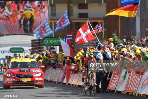 Vincenzo Nibali of Italy and Bahrain Merida Pro Team / Primoz Roglic of Slovenia and Team LottoNL Jumbo / Alpe d'Huez / Fans / Public / during the...