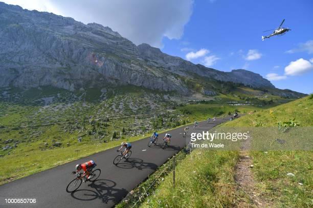 Vincenzo Nibali of Italy and Bahrain Merida Pro Team / Romain Bardet of France and Team AG2R La Mondiale / Peloton / Col de La Colombière / Landscape...