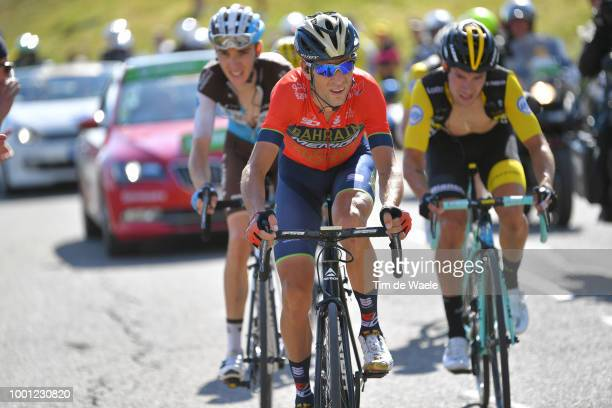 Vincenzo Nibali of Italy and Bahrain Merida Pro Team / Romain Bardet of France and Team AG2R La Mondiale / Primoz Roglic of Slovenia and Team LottoNL...