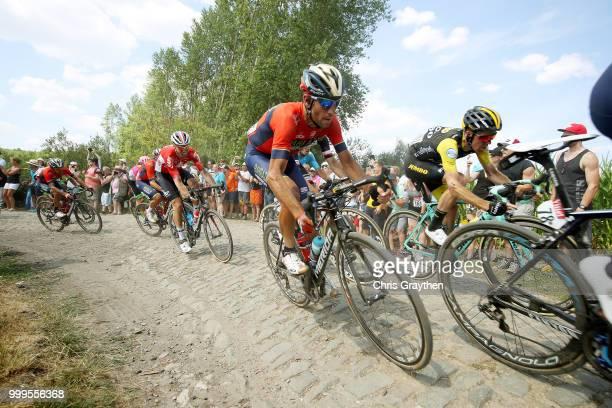 Vincenzo Nibali of Italy and Bahrain Merida Pro Team / Steven Kruijswijk of The Netherlands and Team LottoNL Jumbo / ont Thibault a Ennevelin Cobbles...
