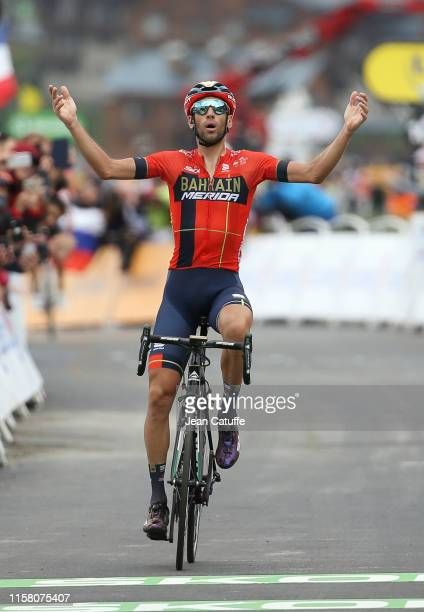 Vincenzo Nibali of Italy and Bahrain-Merida celebrates on the finish line winning stage 20 of the 106th Tour de France 2019, a stage from Albertville...