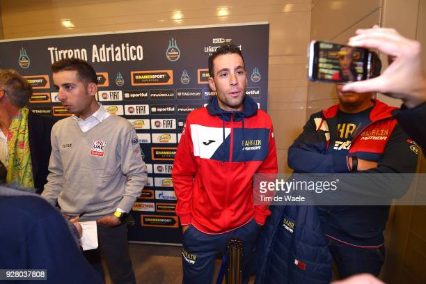 Vincenzo Nibali of Italy and Fabio Aru of Italy attends the 53rd TirrenoAdriatico 2017 / Press Conference on March 6 2018 in Tuscany Italy