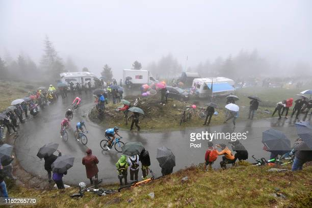 Vincenzo Nibali of Italy and Team Bahrain Merida / Richard Carapaz of Ecuador and Movistar Team Pink Leader Jersey / Mikel Landa Meana of Spain and...