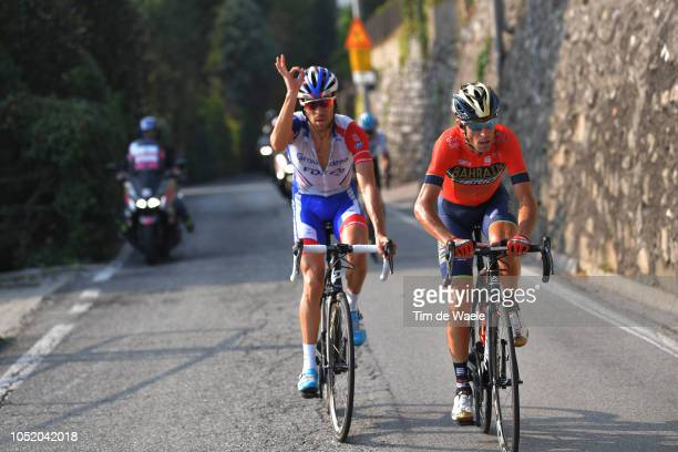 Vincenzo Nibali of Italy and Team Bahrain Merida / Thibaut Pinot of France and Team Groupama FDJ / during the 112th Il Lombardia 2018 a 241km race...