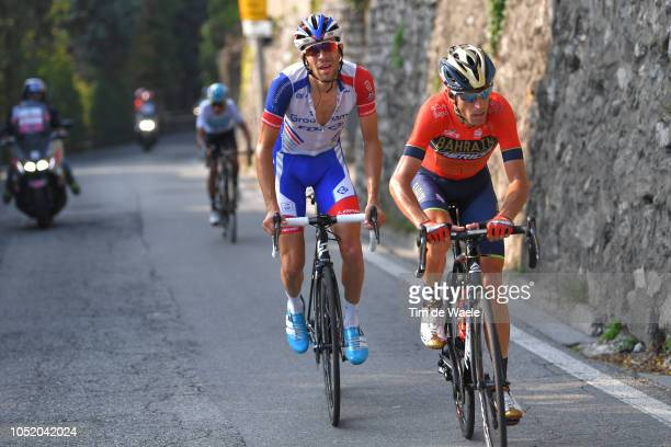 Vincenzo Nibali of Italy and Team Bahrain - Merida / Thibaut Pinot of France and Team Groupama - FDJ / Egan Arley Bernal Gomez of Colombia and Team...