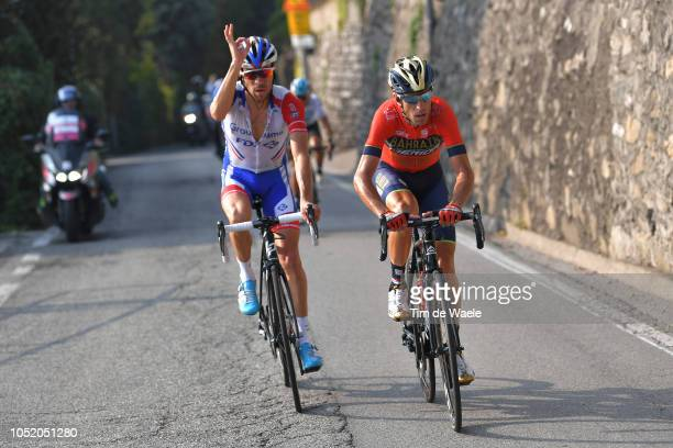 Vincenzo Nibali of Italy and Team Bahrain - Merida / Thibaut Pinot of France and Team Groupama - FDJ / during the 112th Il Lombardia 2018 a 241km...
