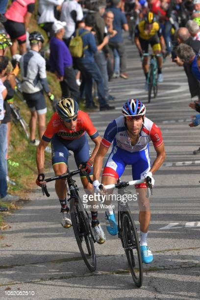 Vincenzo Nibali of Italy and Team Bahrain - Merida / Thibaut Pinot of France and Team Groupama - FDJ / Colma di Soriano / Fans / Public / during the...