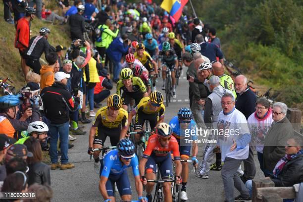 Vincenzo Nibali of Italy and Team Bahrain-Merida / Alejandro Valverde of Spain and Movistar Team / Primoz Roglic of Slovenia and Team Jumbo-Visma /...