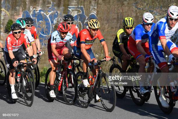 Vincenzo Nibali of Italy and Team BahrainMerida / Caleb Ewan of Australia and Team MitcheltonScott / Arnaud Demare of France and Team Groupama FDJ /...