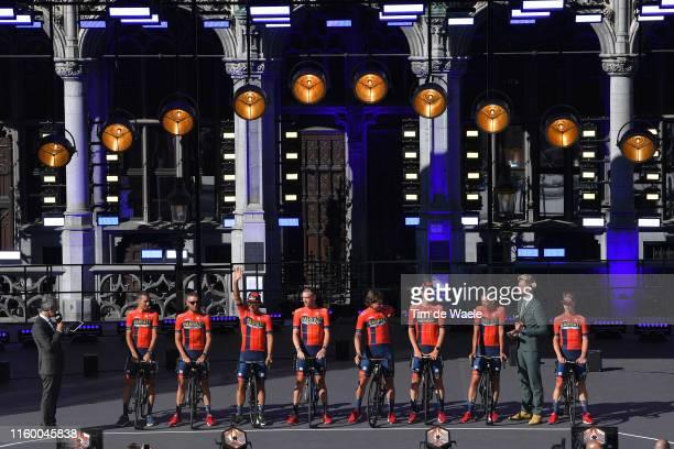 Vincenzo Nibali of Italy and Team Bahrain-Merida / Damiano Caruso of Italy and Team Bahrain-Merida / Sonny Colbrelli of Italy and Team Bahrain-Merida...