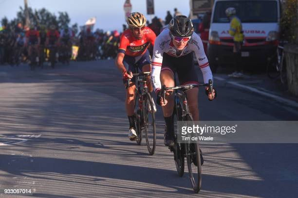 Vincenzo Nibali of Italy and Team Bahrain-Merida / Krists Neilands of Latvia and Team Cycling Academy / during the 109th Milan-Sanremo 2018 a 291km...