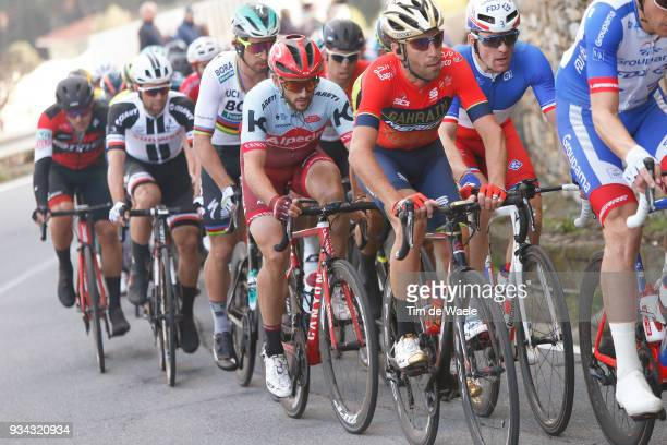 Vincenzo Nibali of Italy and Team BahrainMerida / Peter Sagan of Slovakia and Team BoraHansgrohe / Arnaud Demare of France and Team Groupama FDJ /...