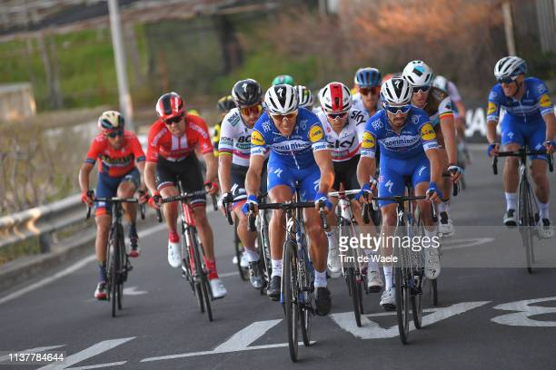 Vincenzo Nibali of Italy and Team Bahrain-Merida / Tom Dumoulin of The Netherlands and Team Sunweb / Peter Sagan of Slovakia and Team Bora-Hansgrohe...