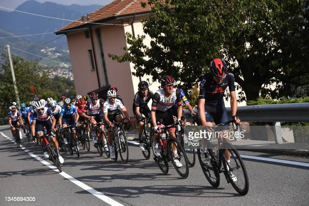 Vincenzo Nibali of Italy and Team Trek - Segafredo, Julian Alaphilippe of France and Team Deceuninck - Quick-Step, Romain Bardet of France and Team...