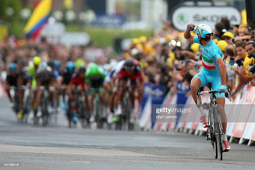 Vincenzo Nibali of Italy and the Astana Pro Team celebrates winning the second stage of the 2014 Tour de France, a 201km stage between York and Sheffield, on July 6, 2014 in Sheffield, England.