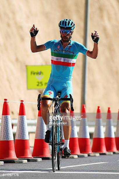 Vincenzo Nibali of Italy and the Astana Pro Team crosses the line to win stage four of the 2016 Tour of Oman a 177km road stage from Knowledge Oasis...