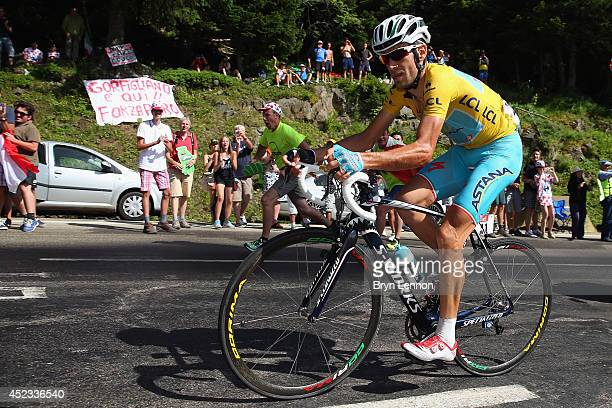 Vincenzo Nibali of Italy and the Astana Pro Team in action on his way to winning the thirteenth stage of the 2014 Tour de France a 197km stage...