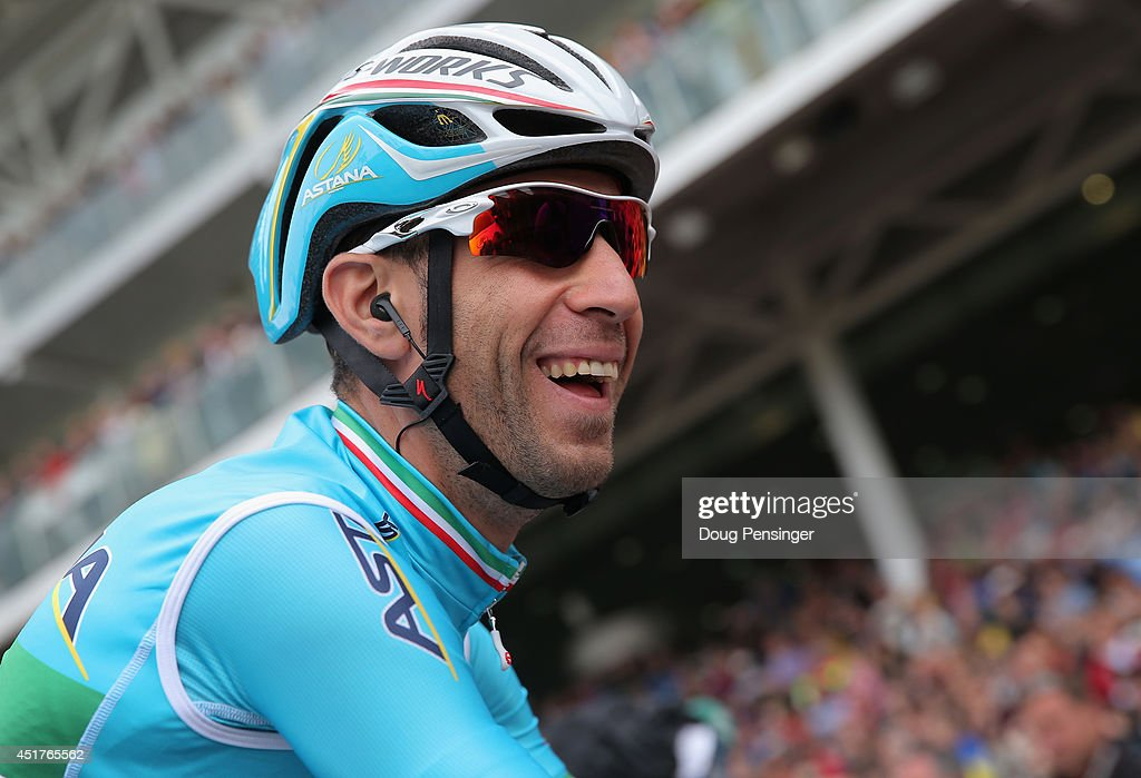 Vincenzo Nibali of Italy and the Astana Pro Team looks on during sign in prior to the start of stage two of the 2014 Le Tour de France from York to Sheffield on July 6, 2014 in York, United Kingdom. Nibali went on to win the stage and take the overall race leader's yellow jersey.