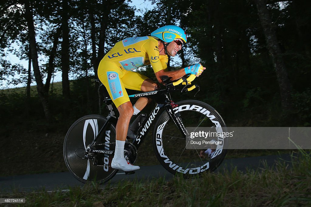Vincenzo Nibali of Italy and the Astana Pro Team races to fourth place in the individual time trial and defended the overall race leader's jersey during the twentieth stage of the 2014 Tour de France, a 54km individual time trial stage between Bergerac and Perigueux, on July 26, 2014 in Perigueux, France.
