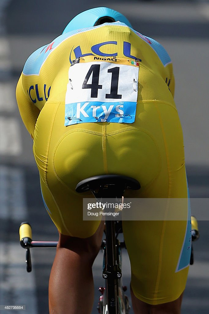 Vincenzo Nibali of Italy and the Astana Pro Team races to fourth place in the individual time trial and defends the overall race leader's jersey during the twentieth stage of the 2014 Tour de France, a 54km individual time trial stage between Bergerac and Perigueux, on July 26, 2014 in Perigueux, France.