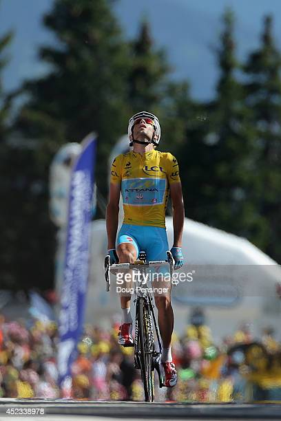 Vincenzo Nibali of Italy and the Astana Pro Team reacts as he defends the overall race leader's yellow jersey and wins the thirteenth stage of the...