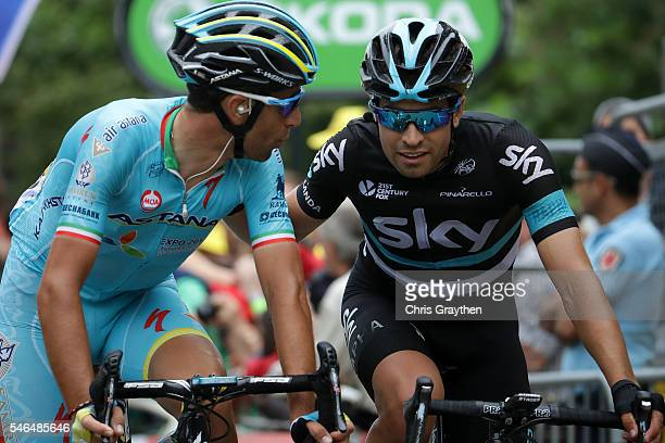 Vincenzo Nibali of Italy riding for Astana Pro Team and Mikel Landa Meana of Spain riding for Team Sky cross the finhs line after stage ten of the...
