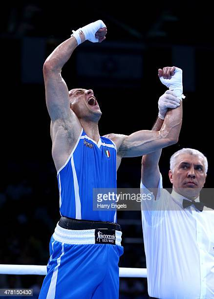 Vincenzo Picardi of Italy celebrates victory over Ferhat Pehlivan of Turkey in the Men's Boxing Flyweight Quarter Final during day eleven of the Baku...