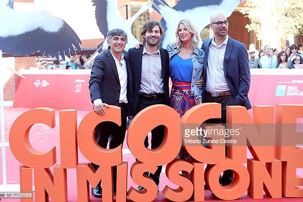 Vincenzo Salemme Federico Russo Alessia Marcuzzi and Doug Sweetland walk a red carpet for 'Storks Cicogne In Missione' during the 11th Rome Film...