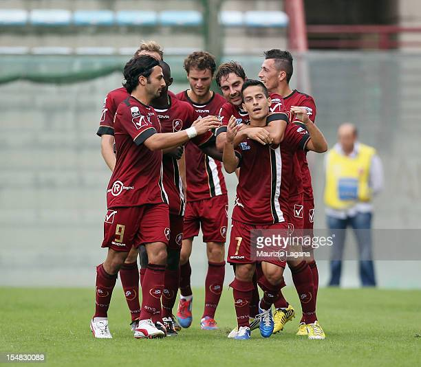 Vincenzo Sarno of Reggina celebrates afetr scoring his team's opening goal during the Serie B match between Reggina Calcio and Ascoli Calcio at...