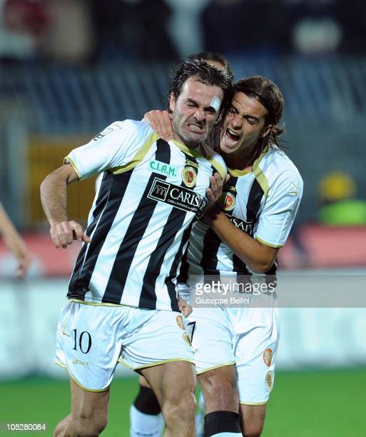 Vincenzo Sommese of Ascoli celebrates his 11 equalising goal during the Serie B match between Ascoli Calcio and FC Crotone at Stadio Cino e Lillo Del...