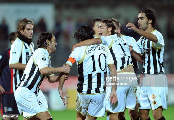 Vincenzo Sommese of Ascoli is congratulated by teammates after scoring the 11 equalising goal during the Serie B match between Ascoli Calcio and FC...