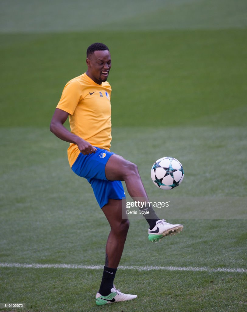 Vincius Oliveira of Apoel Nikosia controls the ball during the team training session ahead of the UEFA Champions League group H match between Real Madrid and APOEL Nikosia at Estadio Santiago Bernabeu on September 12, 2017 in Madrid, Spain.