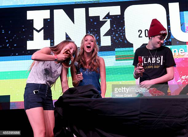 Vine star Crawford Collins participate in Helping Hands with host Andrea Feczko at Fullscreens INTOUR at Pasadena Convention Center on September 13...