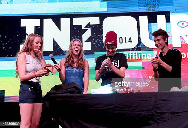 Vine stars Chris Collins and Crawford Collins participate in Helping Hands with host Andrea Feczko at Fullscreens INTOUR at Pasadena Convention...