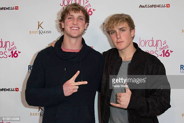 Vine stars Logan Paul and Jake Paul attend Jordyn Jones sweet 16th birthday party at OHM Nightclub on March 13 2016 in Hollywood California