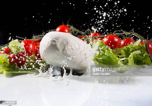 vine tomatoes, mozzarella and lettuce leaf splashing into milk - mozzarella stock photos and pictures