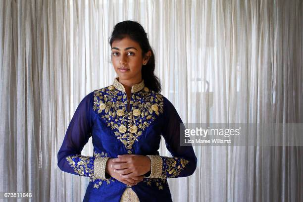 Vineesha Veer a Fijian Indian wears traditional dress at her home on January 27 2017 in Tamworth Australia Tamworth is a large regional city in the...