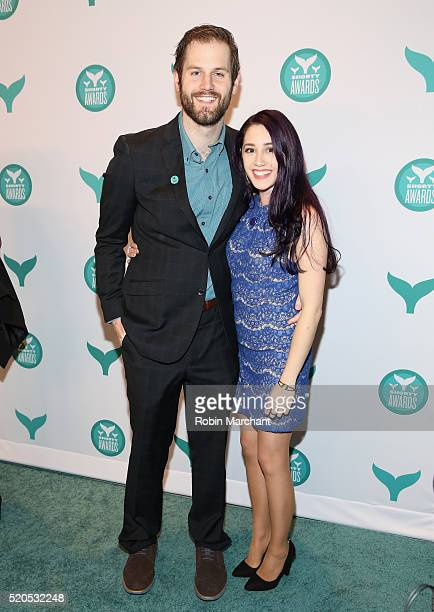 Viners Chris Melberger and Shan Dodd attend 8th Annual Shorty Awards Red Carpet And Awards Ceremony at The New York Times Center on April 11 2016 in...
