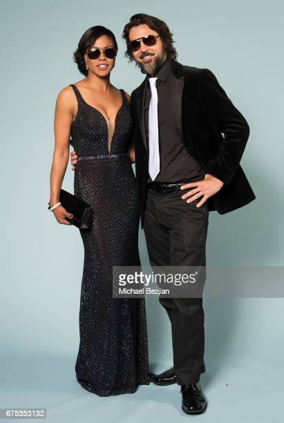 Vinessa Antoine and Jeffrey Vincent Parise pose with Foster Grant Sunglasses at The 44th Daytime Emmy Awards Portraits by The Artists Project...