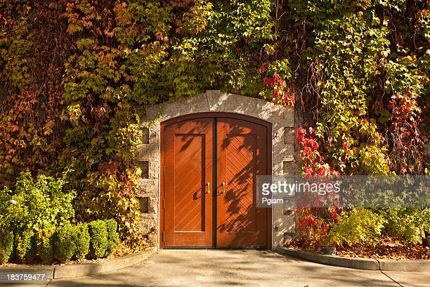 vineyard doorway in autumn - sonoma county stock pictures, royalty-free photos & images